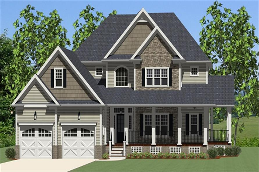 The Plan Collection: Front Elevation of Country House # 189-1015