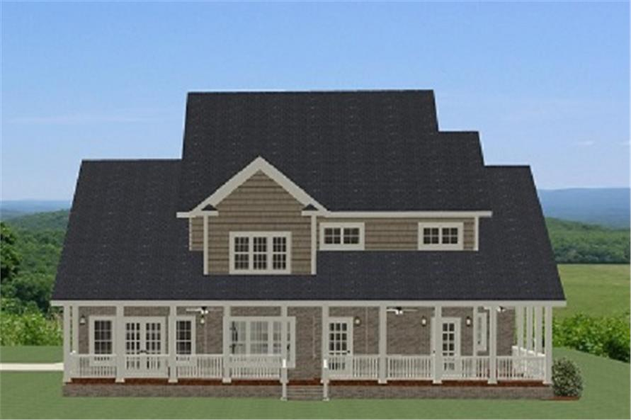 Home Plan Rear Elevation of this 4-Bedroom,2880 Sq Ft Plan -189-1016