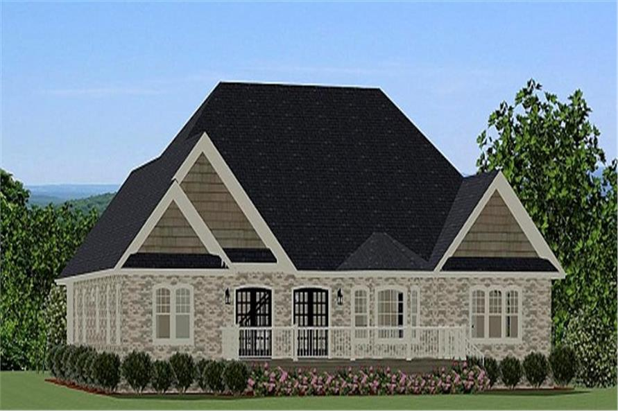 189-1017: Home Plan Rear Elevation