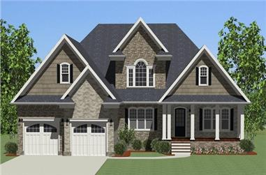 The Plan Collection: Front Elevation of Craftsman House # 189-1017