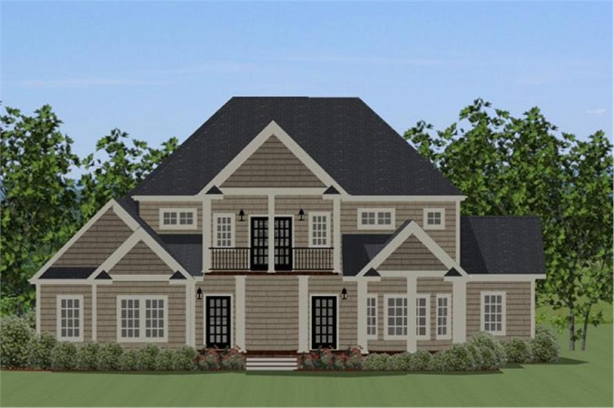 Home Plan Rear Elevation of this 4-Bedroom,3609 Sq Ft Plan -189-1018