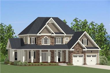 The Plan Collection: Front Elevation of Craftsman House # 189-1018