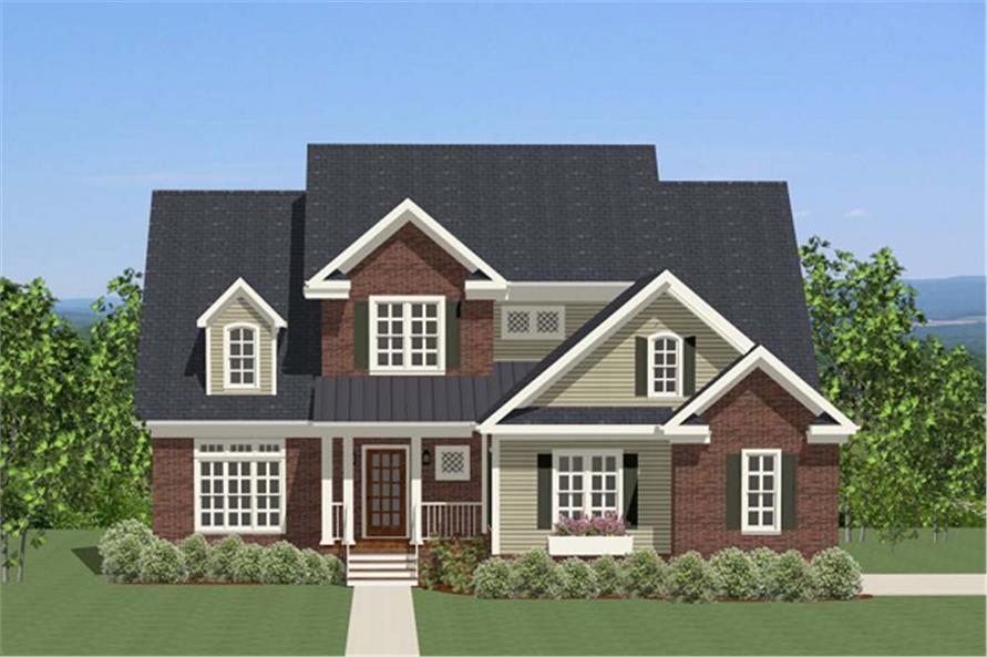 The Plan Collection: Front Elevation of Traditional House # 189-1019