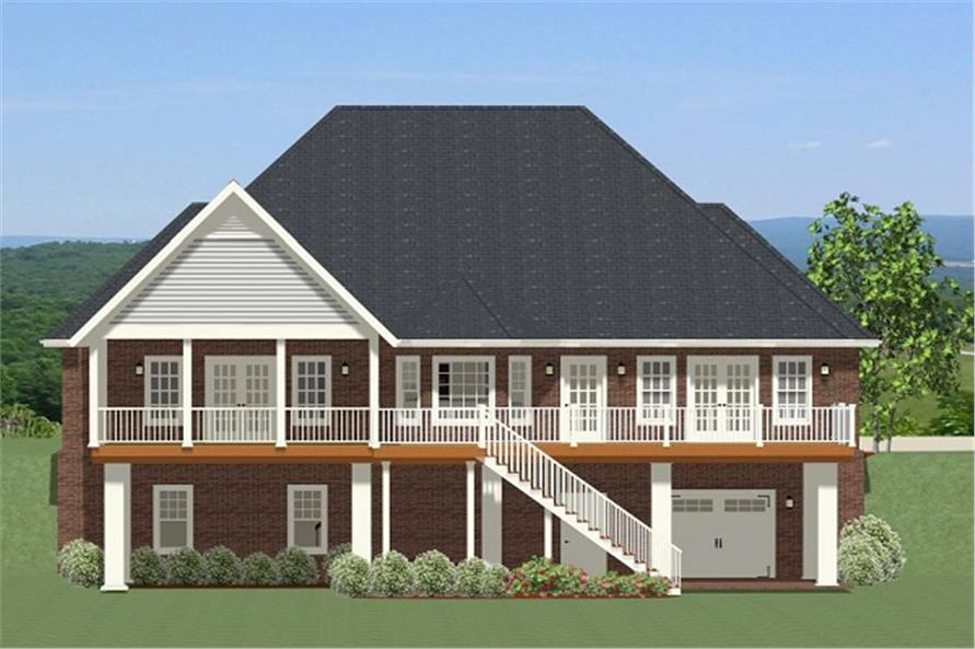 Home Plan Rear Elevation of this 3-Bedroom,3225 Sq Ft Plan -189-1065