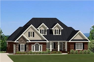 3-Bedroom, 3225 Sq Ft Traditional House Plan - 189-1065 - Front Exterior