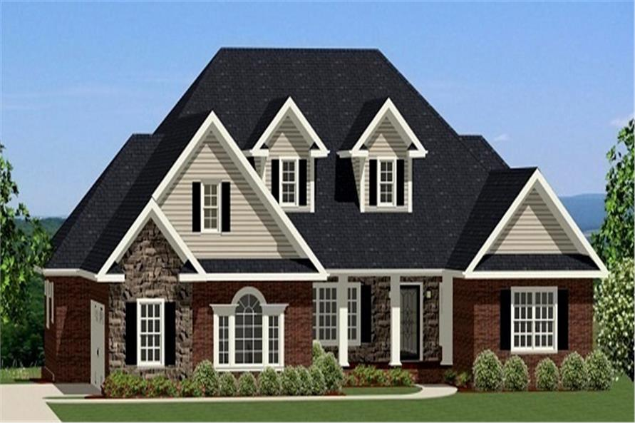 Front rendering of Traditional home (ThePlanCollection: House Plan #189-1065)