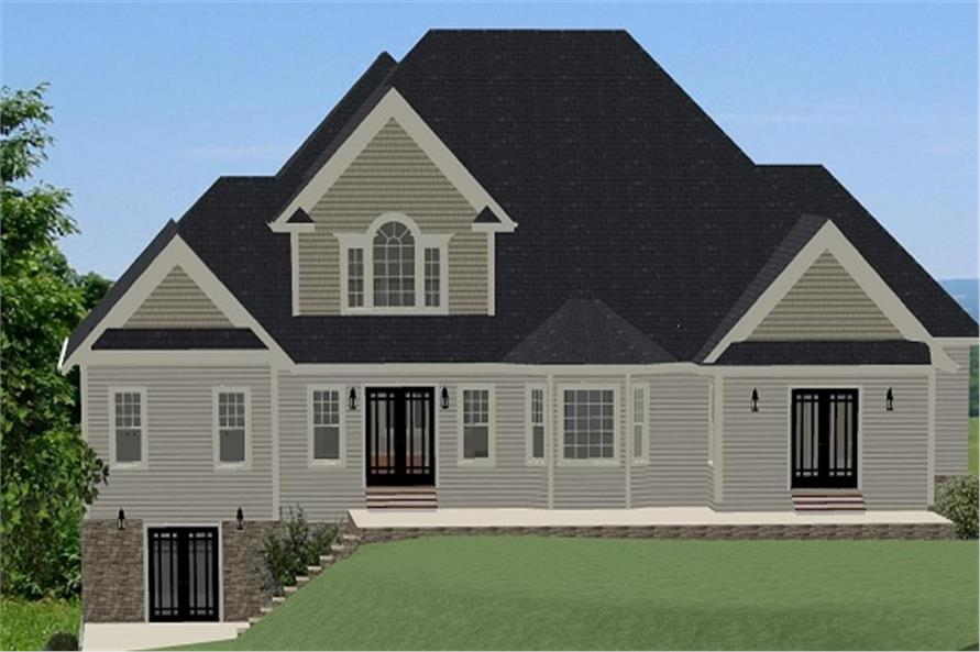 Home Plan Rear Elevation of this 3-Bedroom,2845 Sq Ft Plan -189-1066