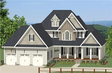 3-Bedroom, 2845 Sq Ft Craftsman House Plan - 189-1066 - Front Exterior
