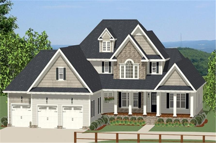 Front elevation of Craftsman home (ThePlanCollection: House Plan #189-1066)