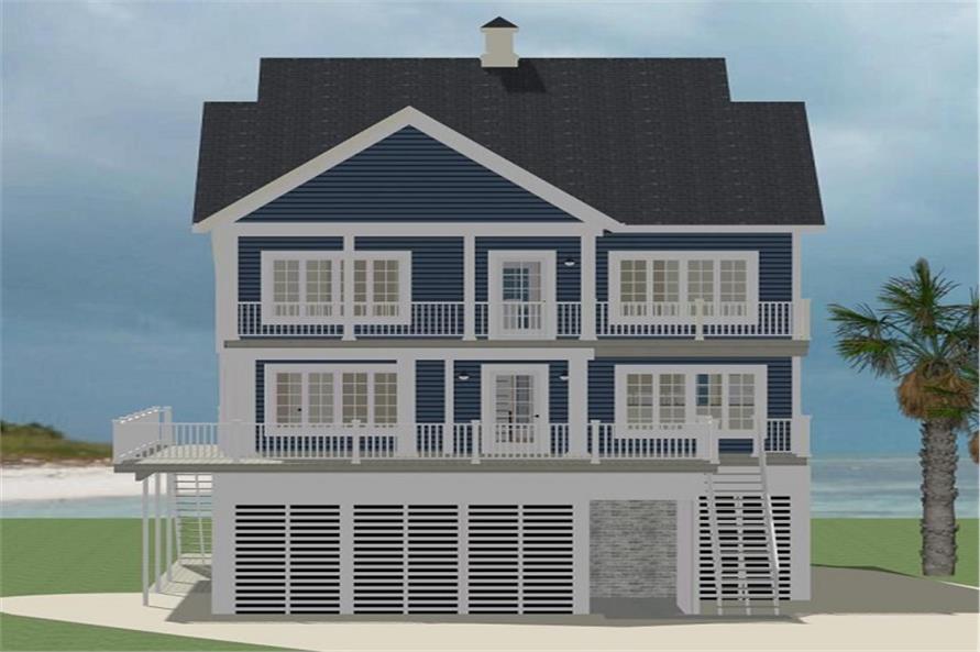 189-1067: Home Plan Rear Elevation