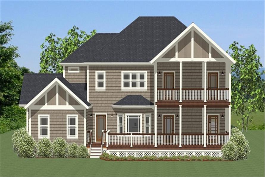 189-1068: Home Plan Rear Elevation