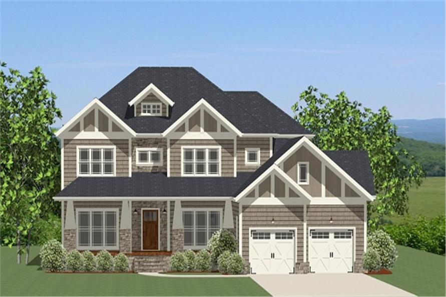 Front elevation of Craftsman home (ThePlanCollection: House Plan #189-1068)