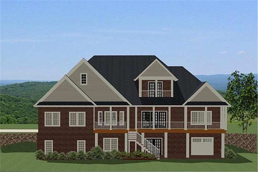 189-1070: Home Plan Rear Elevation