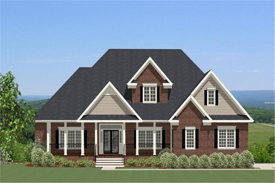 Front elevation of Traditional home (ThePlanCollection: House Plan #189-1070)