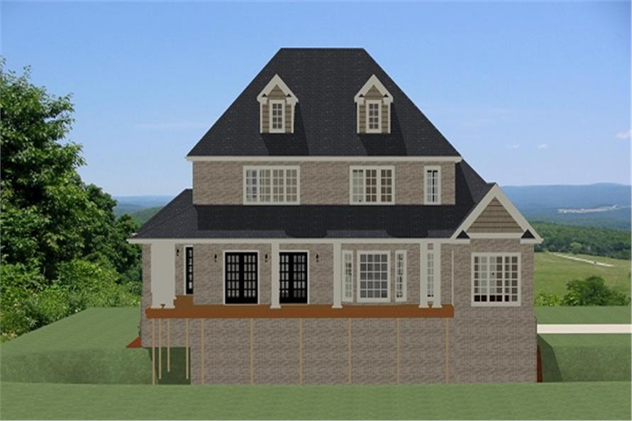 189-1072: Home Plan Rear Elevation