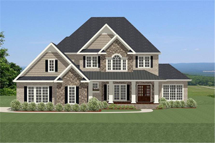 Front elevation of Craftsman home (ThePlanCollection: House Plan #189-1072)