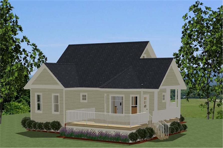 Home Plan Rear Elevation of this 2-Bedroom,1068 Sq Ft Plan -189-1073
