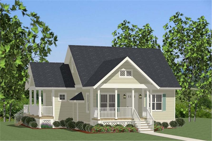 Front elevation of Cottage home (ThePlanCollection: House Plan #189-1073)