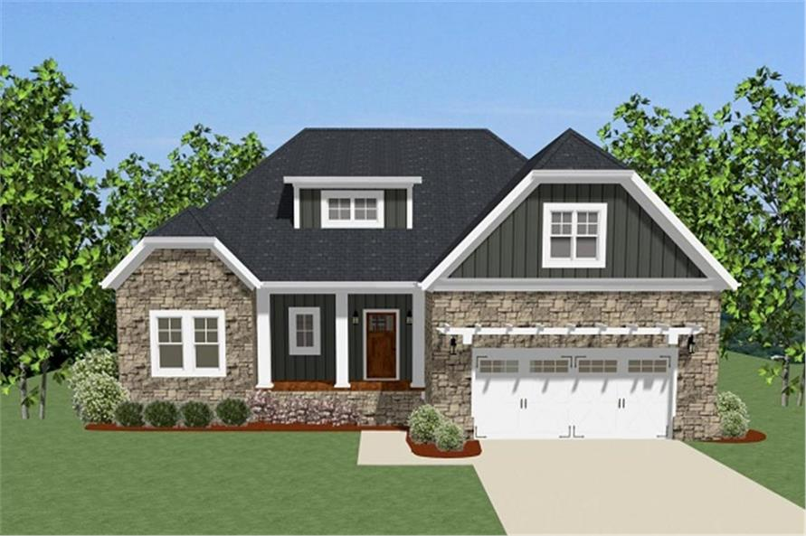 Front elevation of Craftsman home (ThePlanCollection: House Plan #189-1076)
