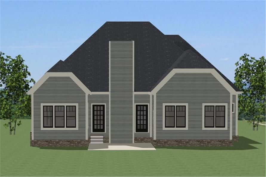 189-1077: Home Plan Rear Elevation