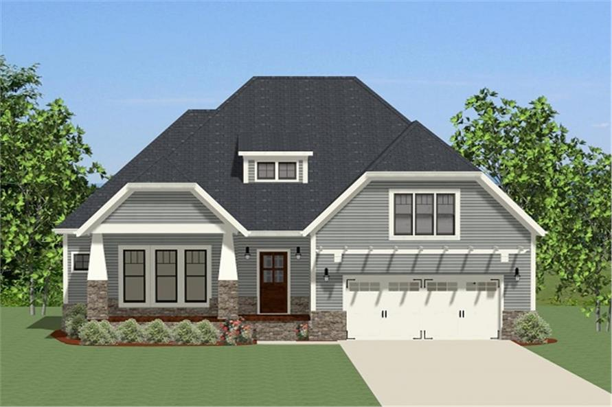 Front elevation of Craftsman home (ThePlanCollection: House Plan #189-1077)