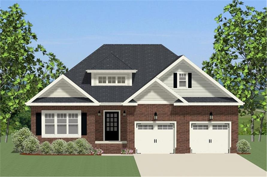 Front elevation of Ranch home (ThePlanCollection: House Plan #189-1078)