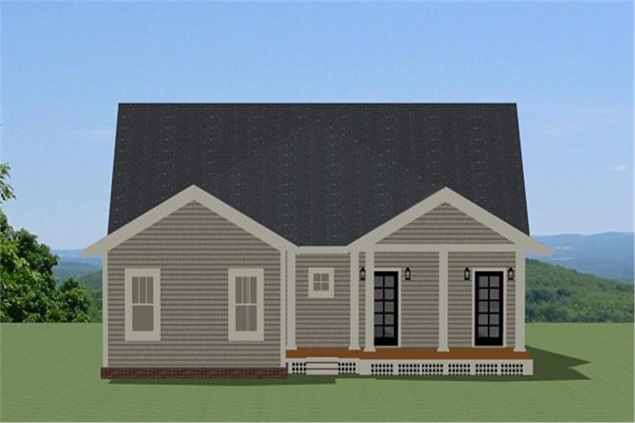 189-1080: Home Plan Rear Elevation