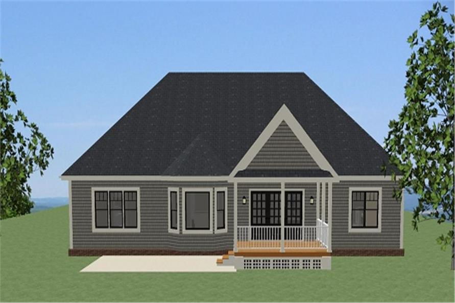 Home Plan Rear Elevation of this 3-Bedroom,2158 Sq Ft Plan -189-1081