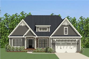 Front elevation of Craftsman home (ThePlanCollection: House Plan #189-1081)
