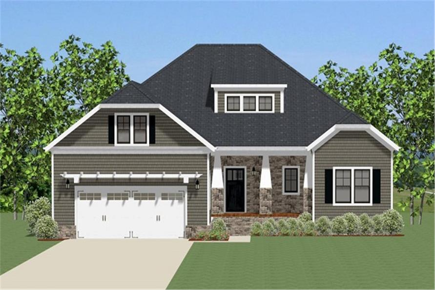 Front elevation of Craftsman home (ThePlanCollection: House Plan #189-1082)