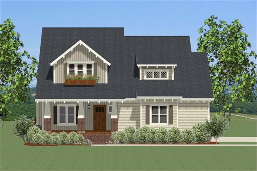 Front elevation of Craftsman home (ThePlanCollection: House Plan #189-1084)