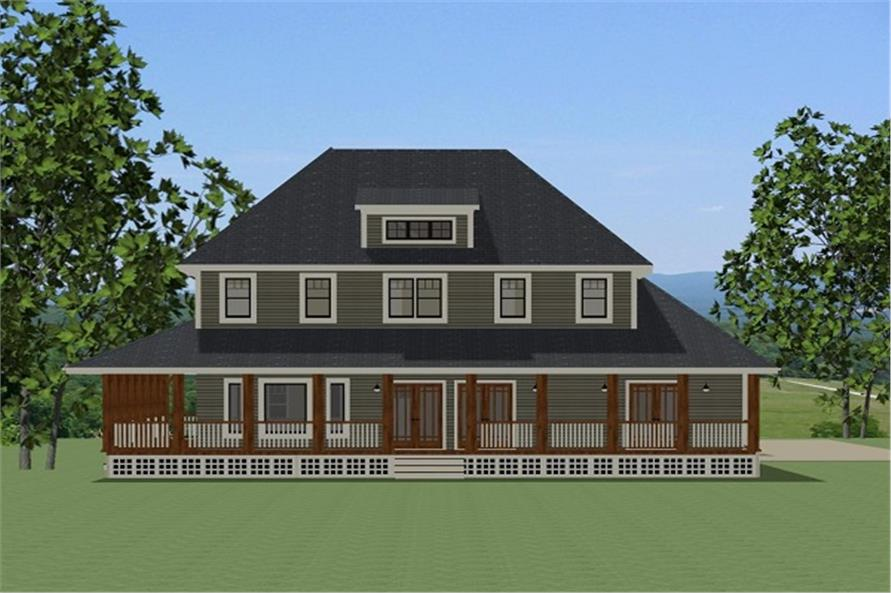 189-1085: Home Plan Rear Elevation