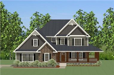 Front elevation of Craftsman home (ThePlanCollection: House Plan #189-1085)