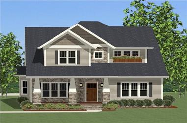 Front elevation of Craftsman home (ThePlanCollection: House Plan #189-1087)