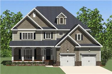 Front elevation of Craftsman home (ThePlanCollection: House Plan #189-1088)