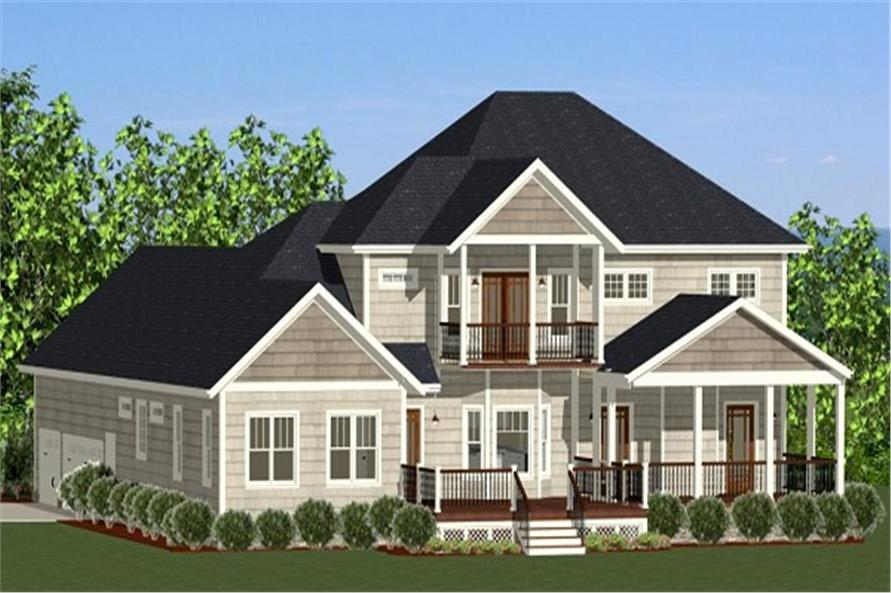 Home Plan Rear Elevation of this 4-Bedroom,3069 Sq Ft Plan -189-1089