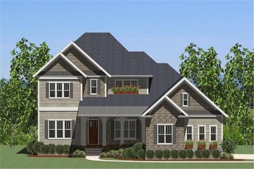 Front elevation of Luxury home (ThePlanCollection: House Plan #189-1089)
