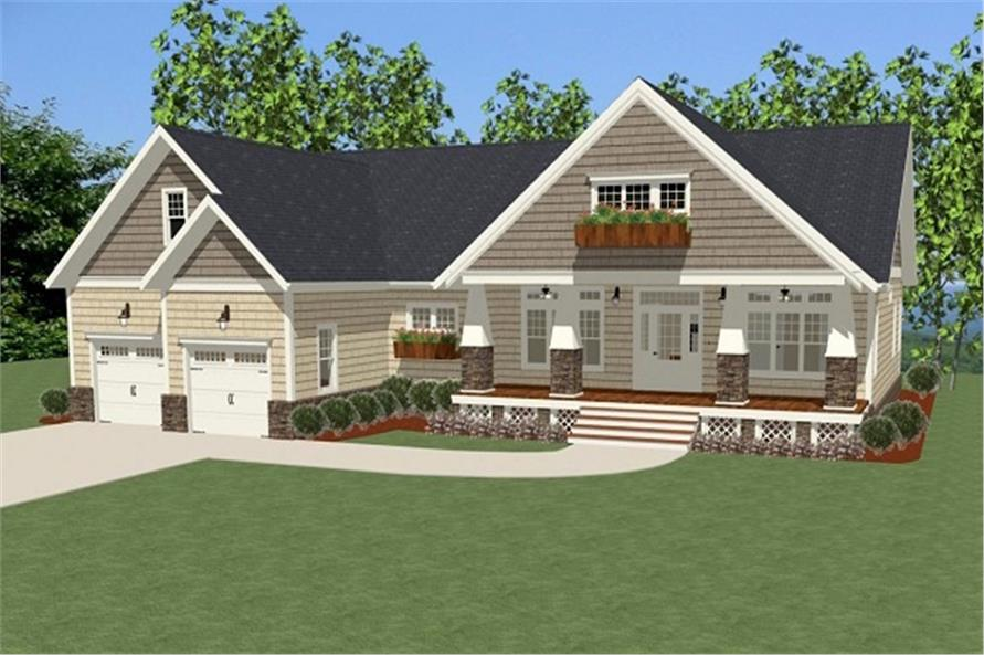 Front elevation of Craftsman home (ThePlanCollection: House Plan #189-1090)