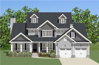 Front elevation of Luxury home (ThePlanCollection: House Plan #189-1092)