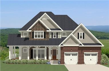 3-Bedroom, 2834 Sq Ft Traditional House Plan - 189-1096 - Front Exterior