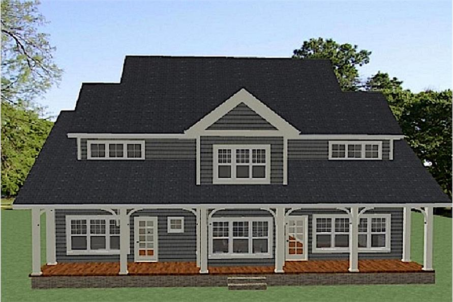Home Plan Rear Elevation of this 4-Bedroom,3001 Sq Ft Plan -189-1097