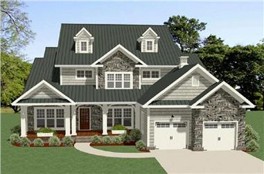 Front elevation of Craftsman home (ThePlanCollection: House Plan #189-1097)
