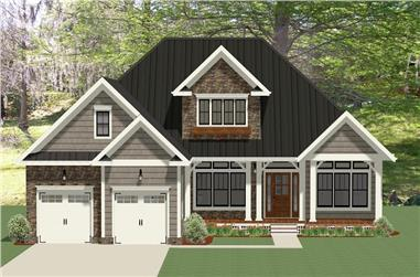 Front elevation of Craftsman home (ThePlanCollection: House Plan #189-1098)