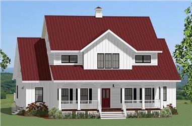 Color rendering of Farmhouse home plan (ThePlanCollection: House Plan #189-1099)