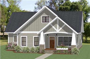 Front elevation of Craftsman home (ThePlanCollection: House Plan #189-1100)