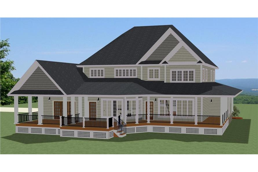 Home Plan Rear Elevation of this 5-Bedroom,3942 Sq Ft Plan -189-1102