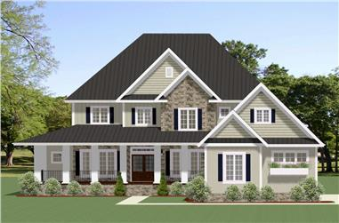 5-Bedroom, 3942 Sq Ft Farmhouse Home Plan - 189-1102 - Main Exterior