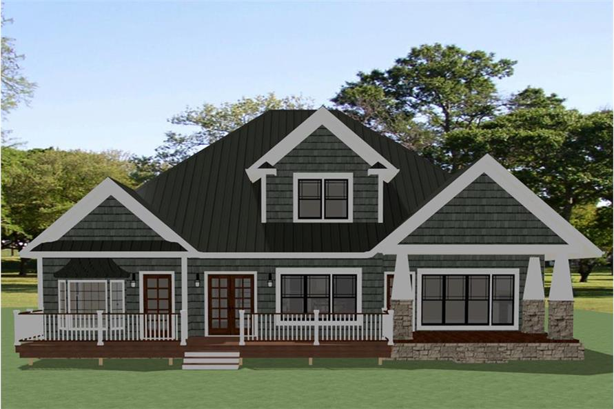 Home Plan Rear Elevation of this 3-Bedroom,2998 Sq Ft Plan -189-1103