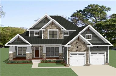 Front elevation of Craftsman home (ThePlanCollection: House Plan #189-1103)