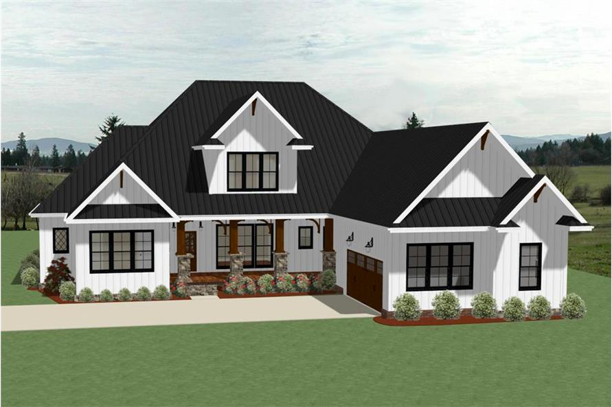 Home Plan Front Elevation of this 4-Bedroom,3390 Sq Ft Plan -189-1104